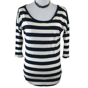 GAP Blue & Ivory Stripe 3/4 Sleeve Pima Cotton Top